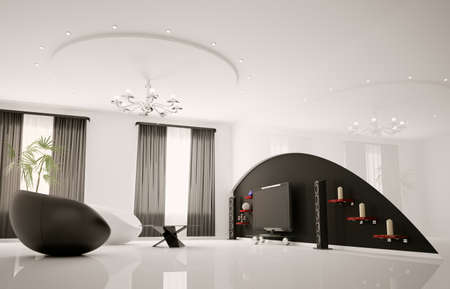 modern interior architecture: Modern interior of living room with armchairs and lcd 3d render Stock Photo