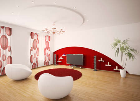 curtain design: Modern interior of living room with two armchairs and LCD 3d render