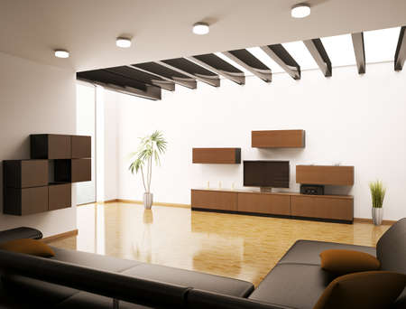 Modern living room with LCD interior 3d render Stock Photo - 8792182