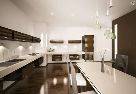 Interior of modern brown kitchen 3d render