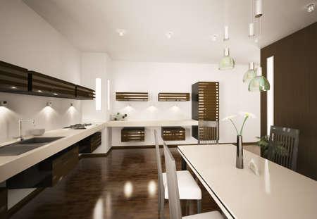 modern dining room: Interior of modern brown kitchen 3d render