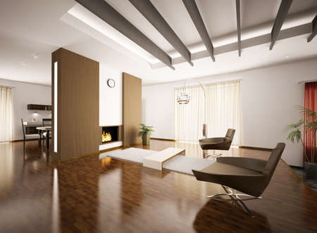 Modern apartment interior with fireplace 3d render photo