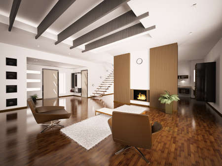 Modern apartment interior with fireplace and staircase living room hall 3d render