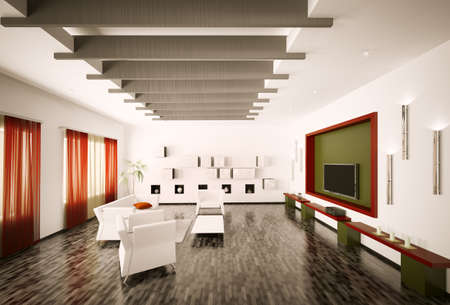 Inter of modern living room 3d render Stock Photo - 8792691