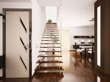 Modern interior of hall with staircase 3d render photo