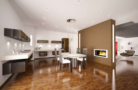 fitting room: Interior of modern brown kitchen with fireplace 3d render
