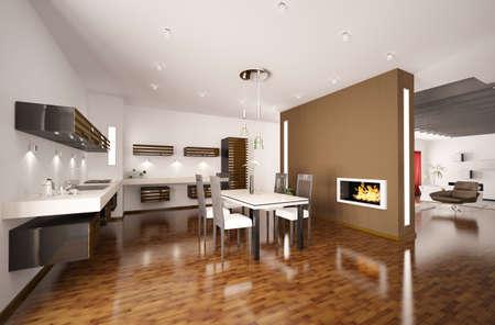 parquet floors: Interno della cucina moderna di marrone con camino 3d rendering Archivio Fotografico