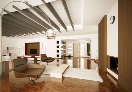 Modern apartment interior living room hall 3d render