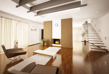 Modern apartment inter with fireplace and staircase 3d render Stock Photo - 8898709