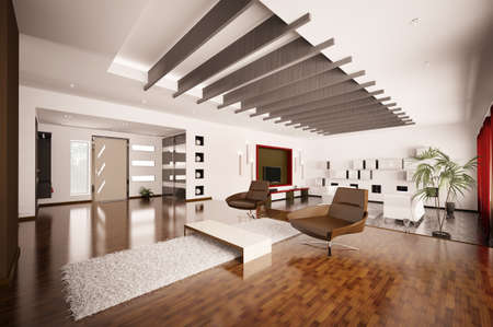 Modern apartment inter living room hall 3d render Stock Photo - 8898712