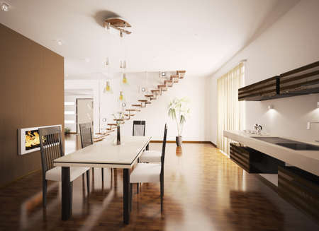 Interior of modern brown kitchen with fireplace 3d render Stock Photo - 8898714