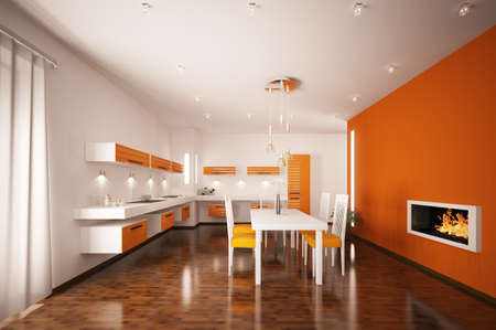 Interior of modern orange kitchen with fireplace 3d render