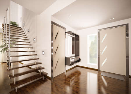 Modern interior of hall with staircase 3d render Stock Photo - 8898715