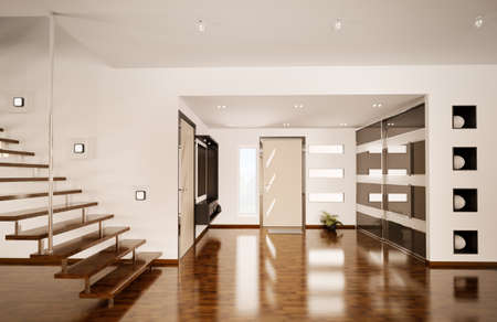 wooden stairs: Modern interior of hall with staircase 3d render