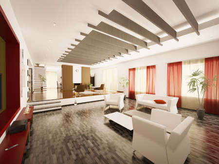 Interior of modern living room with staircase and fireplace 3d render