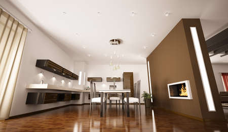 Interior of modern brown kitchen with fireplace 3d render photo
