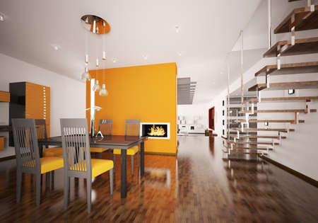 Interior of modern orange kitchen with fireplace 3d render Stock Photo - 8898718