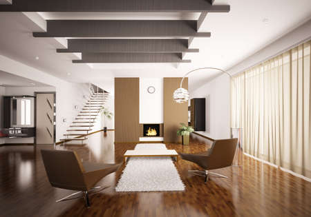 Interior of modern apartment living room hall 3d render photo