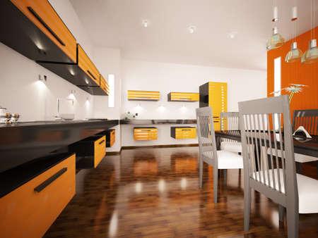 Interior of modern orange kitchen 3d render photo
