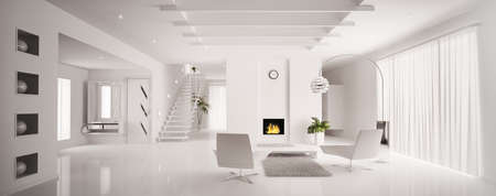 Interior of white apartment with fireplace and staircase 3d render
