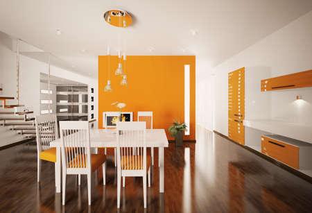 Interior of modern orange white kitchen 3d render photo