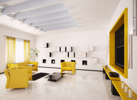 Home interior of modern living room with LCD 3d render photo