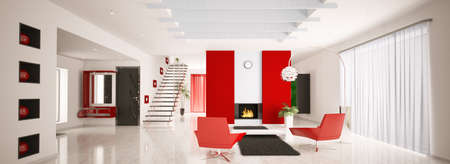 Interior of modern apartment living room hall panorama 3d render Stock Photo - 8957655