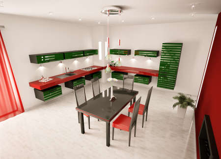 Interior of modern green red  kitchen top view 3d render Stock Photo - 8957654
