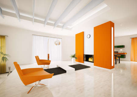 apartment interior: Modern apartment interior with fireplace 3d render Stock Photo