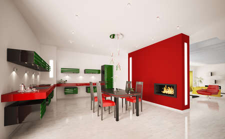 Interno Della Moderna Cucina Rosso Verde Con Camino Render 3d Foto ...