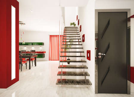vestibule: Modern interior of hall with staircase 3d render