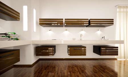 cucina moderna: Interno di cucina moderna marrone render 3d