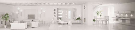 White home interior of modern apartment living room kitchen hall panorama 3d render photo