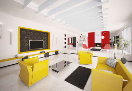 Home inter of modern apartment 3d render Stock Photo - 8957674
