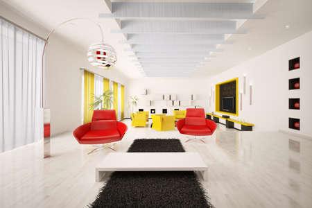 Interior of modern apartment living room 3d render Stock Photo - 8957671
