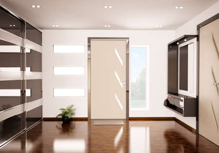 closet door: Modern interior of hall 3d render