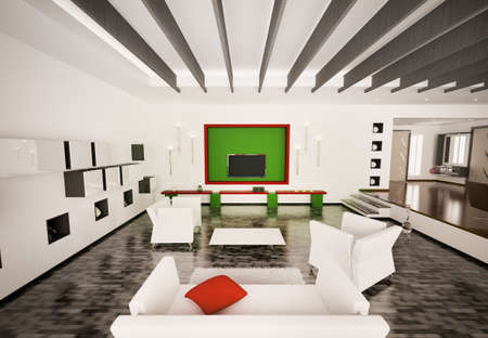 Home interior of modern living room with LCD 3d render Stock Photo - 9020841