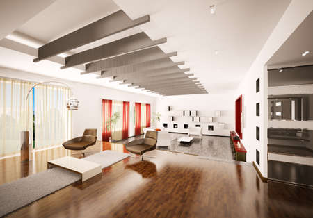 Home interior of modern apartment 3d render Stock Photo - 9020845
