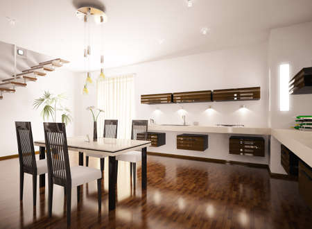 floor lamp: Interior of modern brown kitchen 3d render
