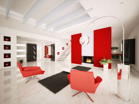 Modern apartment interior with fireplace and staircase living room hall 3d render photo