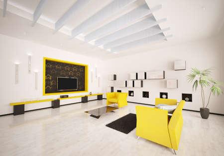 Home interior of modern living room 3d render Stock Photo - 9020837