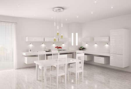 Inter of modern white kitchen 3d render Stock Photo - 9020839