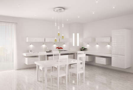 Interior of modern white kitchen 3d render photo
