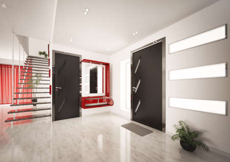 Modern interior of entrance hall with staircase 3d render Stock Photo - 9020836