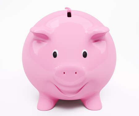 Happy smiling pink piggy bank 3d render photo