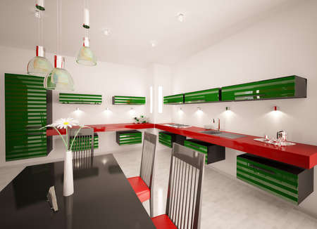 Interior of modern green red kitchen 3d render photo