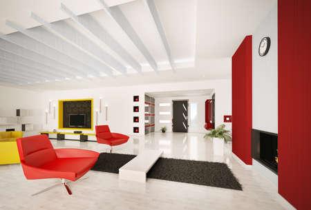 Modern apartment interior living room hall 3d render photo