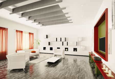 Home interior of modern living room 3d render Stock Photo - 9020846