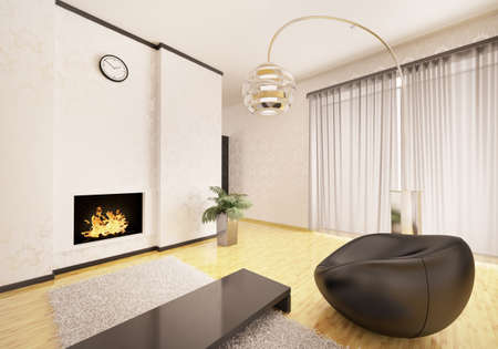 Interior of modern living room with fireplace and black armchair 3d render Stock Photo