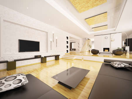 Interior of modern apartment with staircase 3d render Stock Photo - 9092106